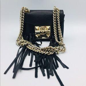 Salar Gaia Knot Black Leather Shoulder Fringe Bag